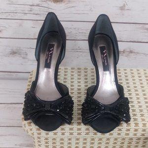 Nina Black Bow High Heels Size 7 1/2